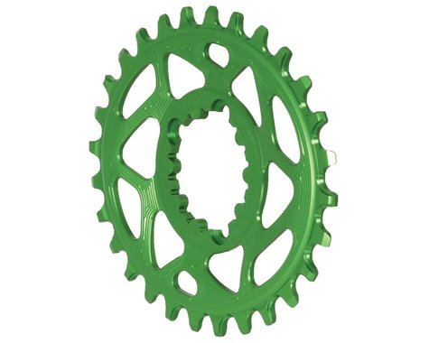 Absolute Black Spiderless GXP Direct Mount Oval Ring (Green) (6mm Offset) (28T)