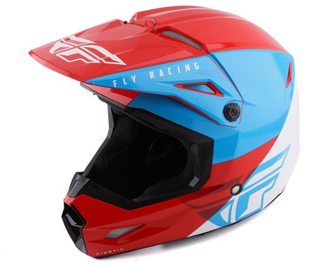 Fly Racing Youth Kinetic Straight Edge Helmet (Red/White/Blue) (Youth S)