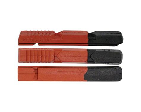 Kool Stop V Type 2 Brake Pad Inserts (Black/Red) (1 Pair) (Dual Compound)