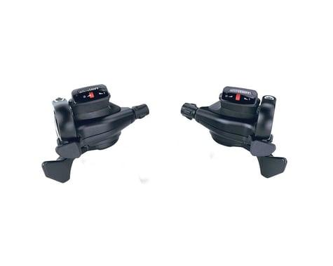 Microshift TS71 Thumb-Tap Trigger Shifters (Black) (Pair) (3 x 8 Speed)