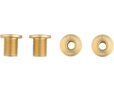 Wolf Tooth Components Set of Chainring Bolts (Gold) (10mm Long) (4)