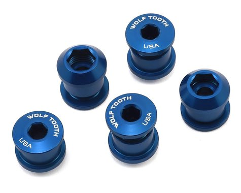Wolf Tooth Components Dual Hex Fitting Chainring Bolts (Blue) (6mm) (5)
